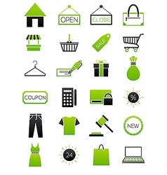 Green black shopping icons set vector image