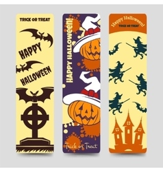 Halloween flat bookmarks vector image