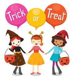 Halloween pumpkin bucket and girls holding hands vector