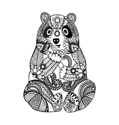 Hand drawn zentangle panda vector image