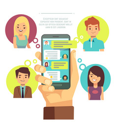 hand holding smartphone with online chat with vector image vector image