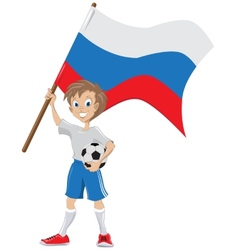 Happy soccer fan holds russian flag vector