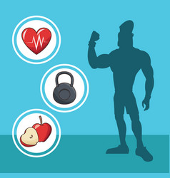 Healthy man athletic diet sport silhouette vector