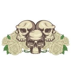 Human skulls and rose vector