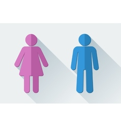 Man and woman toilet symbols in flat style vector image