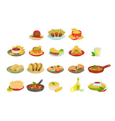 Mexican food signature dishes set vector