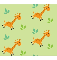 Seamless pattern with funny giraffes vector