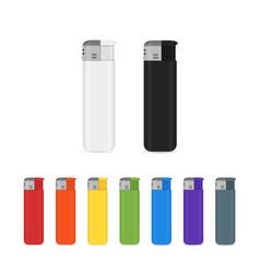 Set of flat cigarette lighter icons vector