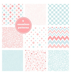 Set of nine graceful seamless patterns vector