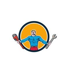 Superhero handyman spanner wrench circle cartoon vector
