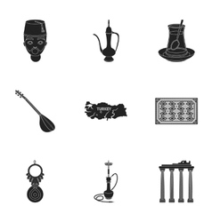 Turkey set icons in black style big collection of vector