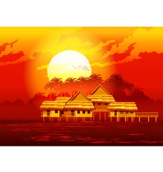 village at sunset vector image vector image