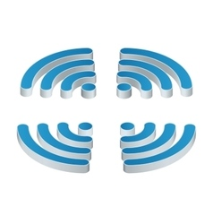 Wi-fi isometric icon set of four wifi icons for vector
