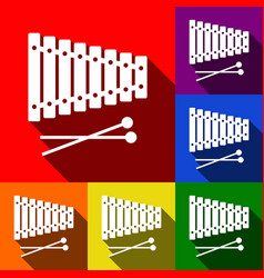 Xylophone sign set of icons with flat vector