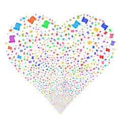 script roll fireworks heart vector image