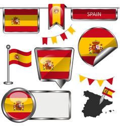 glossy icons with flag of span vector image