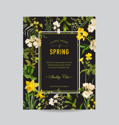 Vintage summer and spring floral frame vector
