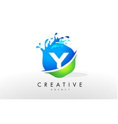y letter logo blue green splash design vector image