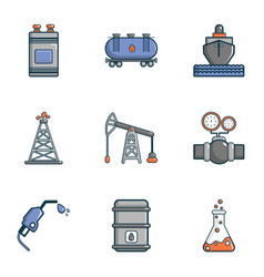 Industrial factory icons set cartoon style vector