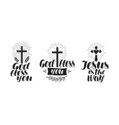 religion cross crucifixion icon or symbol vector image