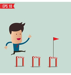 Business Man jumping over an obstacle on the way vector image