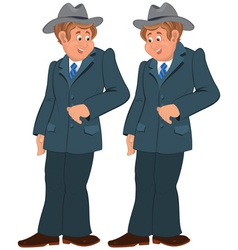 Happy cartoon man standing in gray suite and hat vector