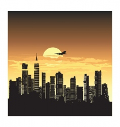 sunset city vector image