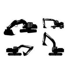 Set silhouette the excavate vector