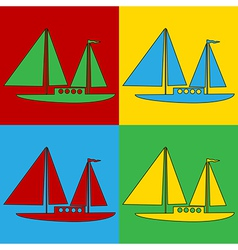 Pop art sailing ship icons vector