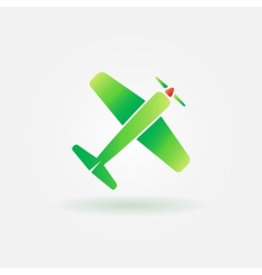 Airplane green sign or icon vector