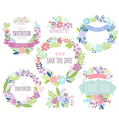 Floral hand drawn card set vector