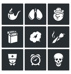 Smoking and effects on the body icons set vector