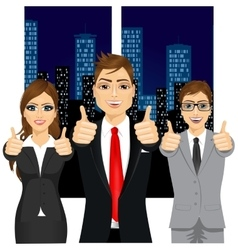 Businessmen showing thumbs up in an office vector