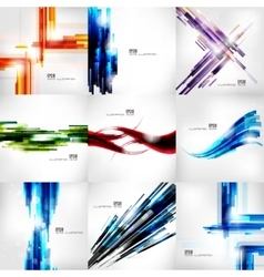 Set with abstract lined banners digital lines vector