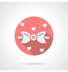 Bow tie and hearts round pink flat icon vector