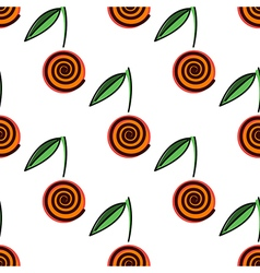 Pattern with decorative cherry on the white bg vector
