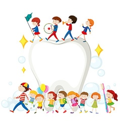 Children and clean teeth vector