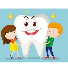 Boy and girl with clean tooth vector