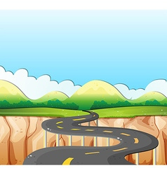 Nature scene with road and field vector