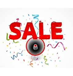 Sale with megaphone and colorful confetti vector