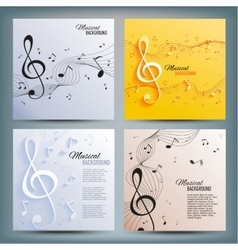 Set of musical banners with musical key and notes vector