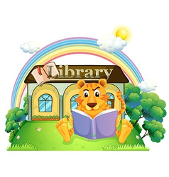 A tiger reading a book outside the library vector image vector image