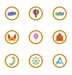 Amusement festival icon set cartoon style vector