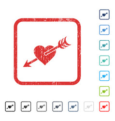 Arrow heart icon rubber watermark vector