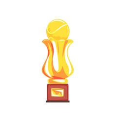 award tennis sport golden trophy cup cartoon vector image