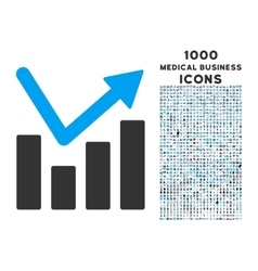 Bar chart trend icon with 1000 medical business vector