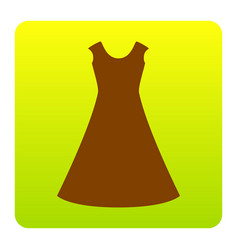 beautiful long dress sign brown icon at vector image vector image