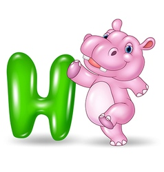 Cartoon of H letter for Hippo vector image vector image