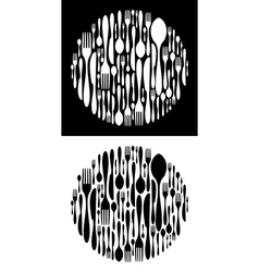 Circle shape made of cutlery icons vector image