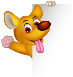 Cute dog cartoon posing with blank sign vector
